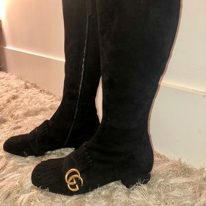 Gucci Marmont Suede Knee High Boots